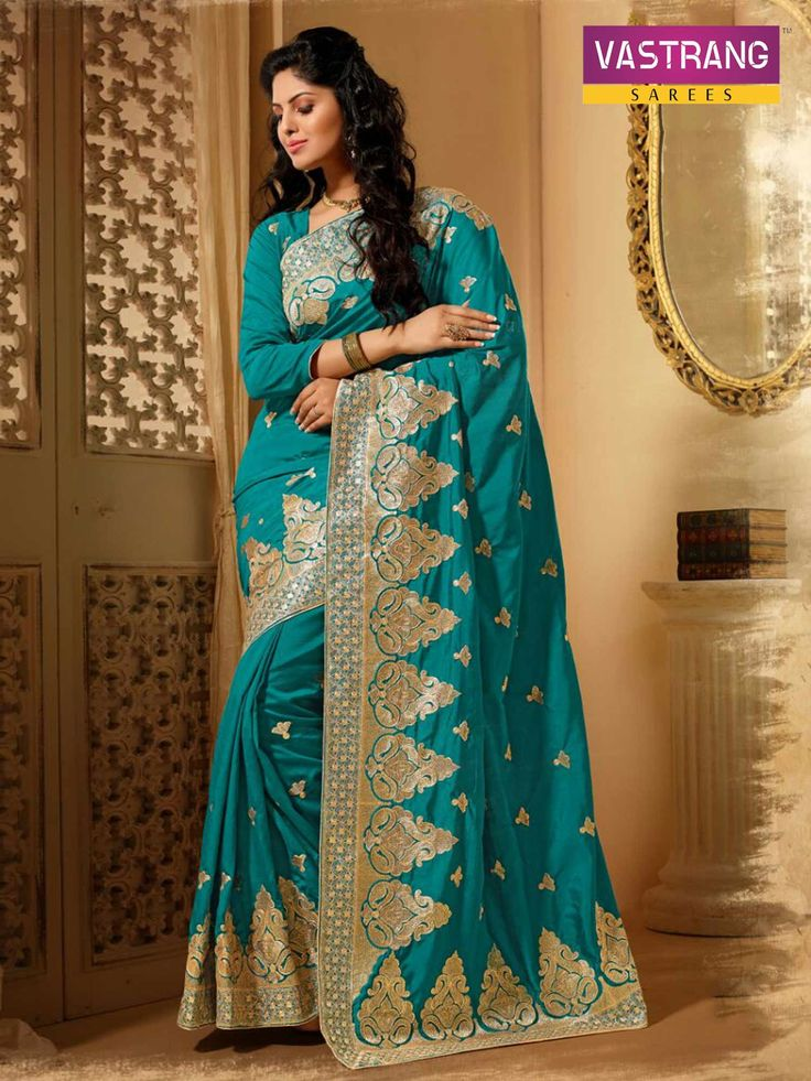 Blue pure Silk Saree with Embroideri work & pure Silk Blouse