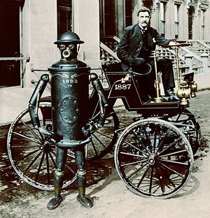 """Boilerplate was a mechanical man developed by Professor Archibald Campion during the 1880s and unveiled at the 1893 World's Columbian Exposition.    Built in a small Chicago laboratory, Boilerplate was a prototype soldier built for """"preventing the deaths of men in the conflicts of nations"""". Although it was the only such prototype, Boilerplate was eventually able to exercise its proposed function in several combat actions."""