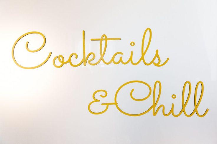 Laser Cut Sign; Cocktails & Chill; Yellow; Wedding; Toronto Wedding Planner
