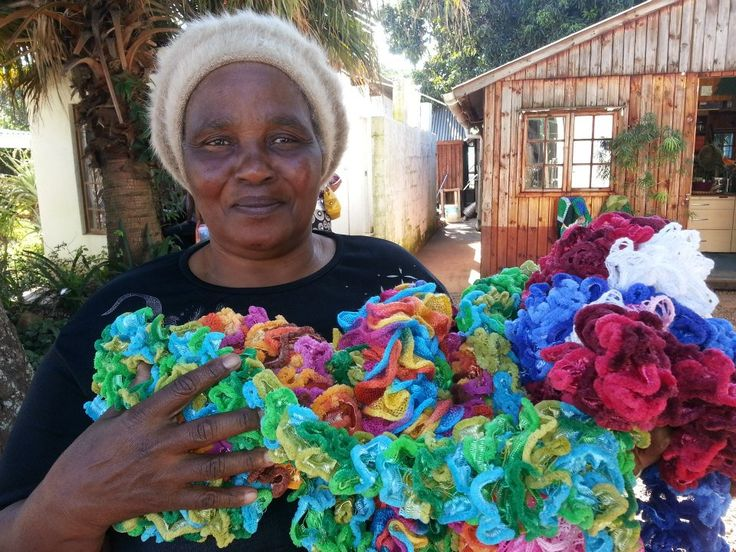 Beautiful boas and scarves, hand made by the women of Woza Moya in South Africa