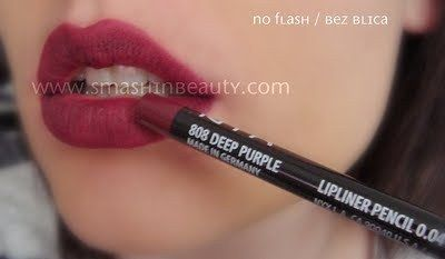 NYX Lip liners slim pencils Deep Purple dupe for MAC Currant