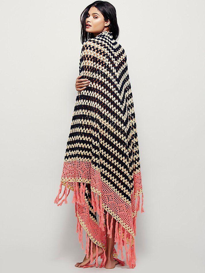 Multi Love Crochet Blanket   Vintage-inspired crochet blanket shawl featuring…