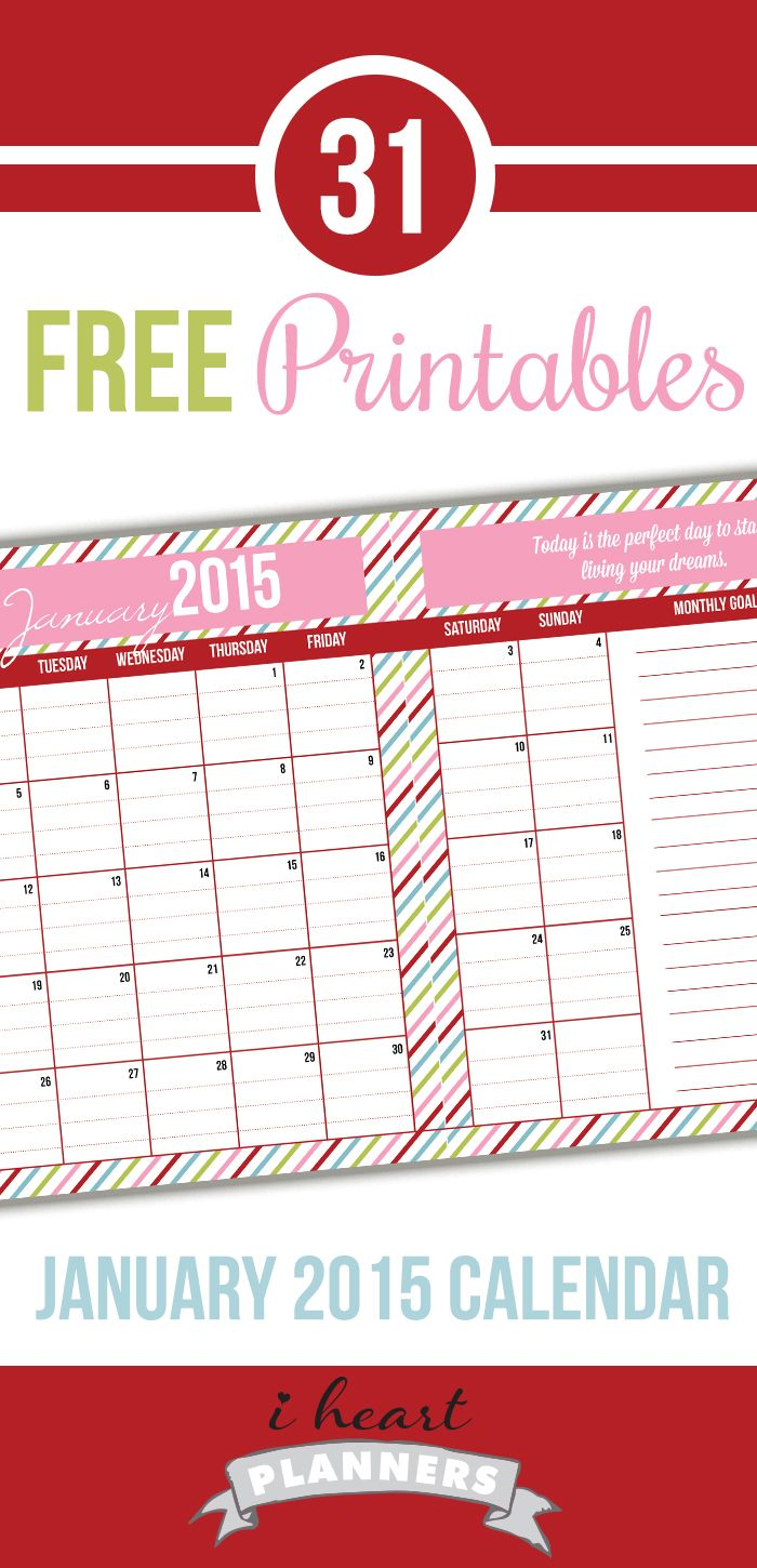 Welcome to Day 7 of the 31 days of free printables! Today's printable is a colorful January 2015 calendar. The 2014 calendar I posted last year was really popular, so I thought many of you would enjoy one for next year. Click below to download the pdf version of this printable. (IMPORTANT: Be sure to …