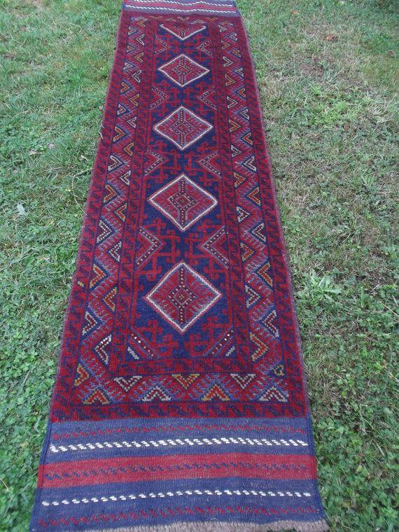 """Long hand woven Mishwani Rug/Kilim/Runner Carpet  7ft 10"""" x 2ft   239 x 63 cm Tapis"""