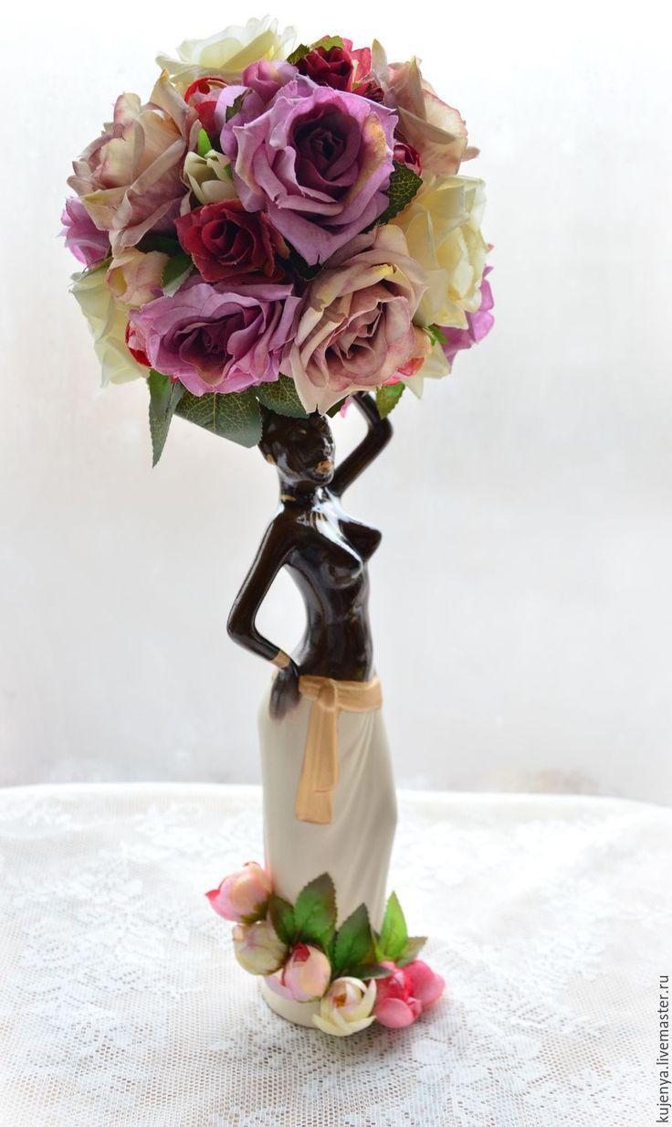 """Купить Топиарий """"Эфиопка"""" Бронь - розовый, топиарий, топиарий эфиопка, эфиопка, статуэтка эфиопка"""