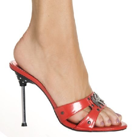 The Highest Heel Shoes Royal 101 Red Slip on Mules Red mules with discreet shimmering and double studded straps in toe area adorned with metallic detail. The front flat sole in matching red contrasts the spindle heel with 4 inch (10 cm) height, creati http://www.MightGet.com/january-2017-12/the-highest-heel-shoes-royal-101-red-slip-on-mules.asp