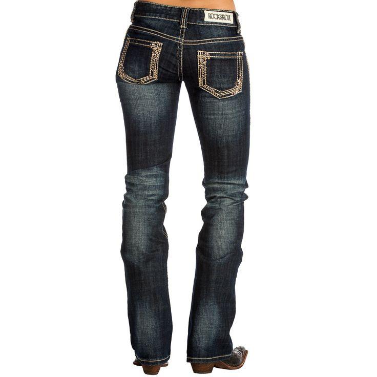 Women's Rock N Roll Cowgirl Gold Pocket Low Rise Dark Wash Jeans Item # W0-1522