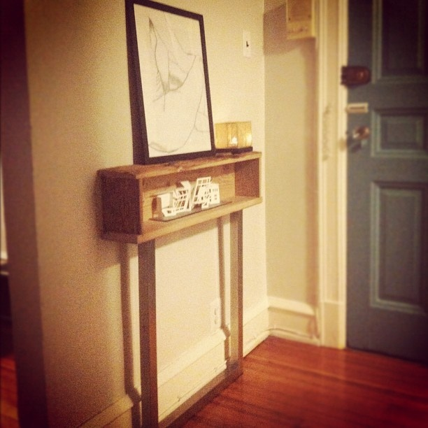Haus of penrod krause mushroomwood foyer console table deep for narrow entryways akron art museum cutout in the inset