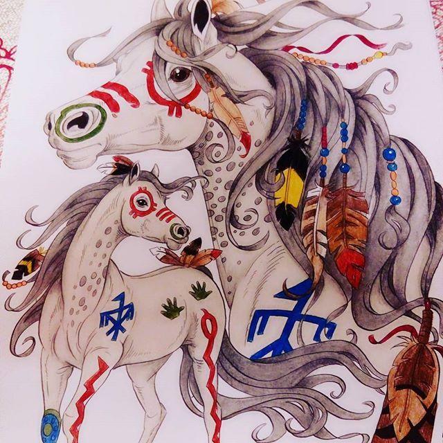 #Lenafurberg #coloringhorses #indianhorse