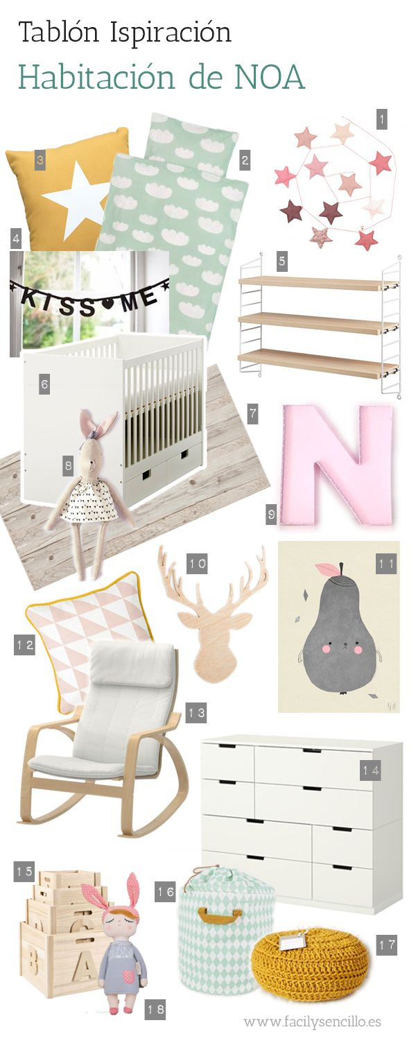 DECORAR UNA HABITACIÓN DE BEBÉ NIÑA. Inspiration board for my baby girl NOA by facilysencillo.es
