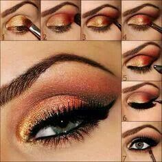 This will be nice for the fall season. Gold orange eyeshadow. Pictorial. How to.  https://www.youniqueproducts.com/AmandaFed/party/92686/view
