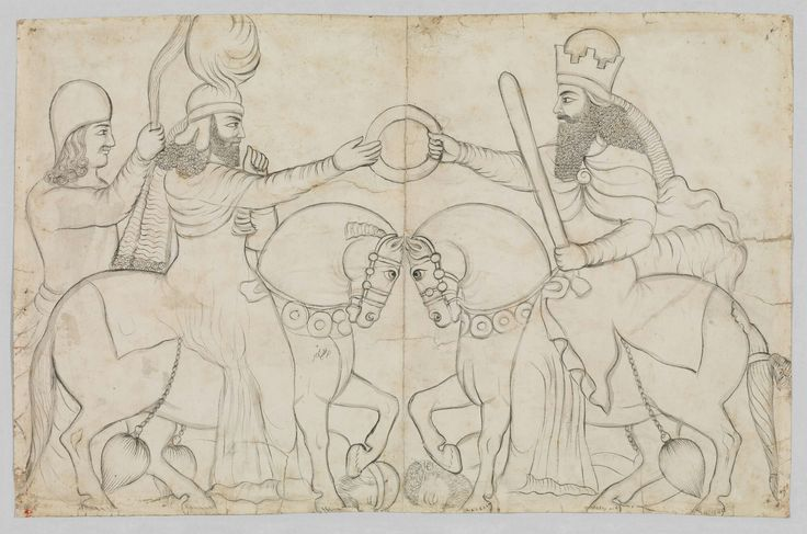 Artist- lutf' Ali khan Title- sasanian rock relief, ardashir 1 and the zoroastrain divinity ahura mazda at naqsh-i  rustam Date- A.D. 1860 Medium-pencil