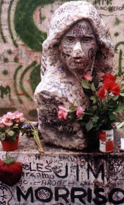 Jim Morrison's grave (Photo by Bob Hickey) So sad to see all the defacement of his headstone, it seems disgraceful