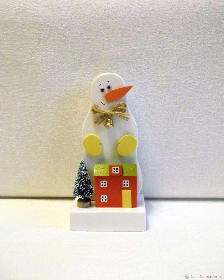 Купить Снеговик, домик, новогодний декор, Новый год в интернет магазине на Ярмарке Мастеров