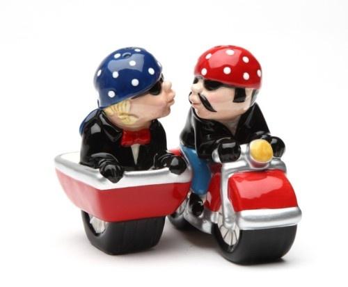 MOTORCYCLE & SIDE CAR MAGNETIC SALT PEPPER SHAKERS CUTE   eBay: Motorcycles, Salt Pepper Shakers, Magnetic Salt, Motorcycle Side, Cars, Sidecar, Ceramic, Salts