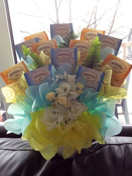 Tea Bouquet. A bouquet not with just candy. Love this idea. A customized bouquet for someone.