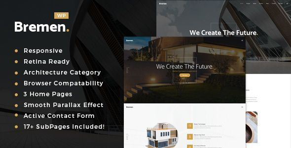The theme features a clean, minimal and stylish design, perfect for all sorts of architect and interior design studio websites.