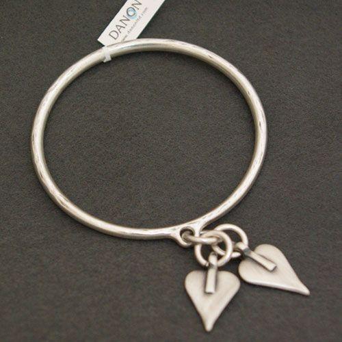 Danon Silver Bangle With Two Silver Signature Hearts|lizzielane.co.uk £26 http://www.lizzielane.co.uk/shop/danon-silver-bangle-with-two-signature-hearts