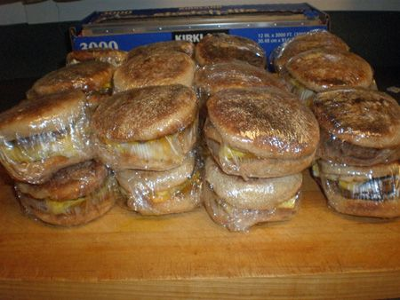 McMom's Breakfast Sandwiches for the Freezer--  Made a modified version of these for the hubbs to take to work at 4am. Need to make more and stock up the freezer!