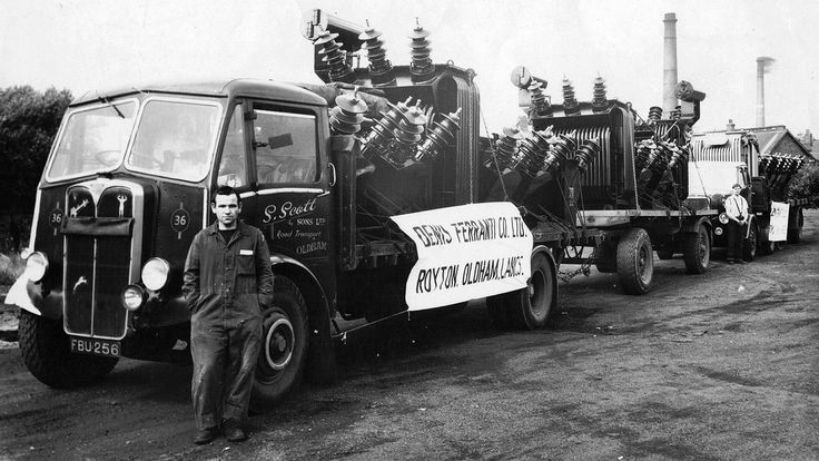 https://flic.kr/p/aiUk3J | Scott's of Oldham AEC Matador Reg No FBU 256 | Scott's of Oldham driver Tommy Gilmore takes time out for a photograph in front of AEC Matador draw-bar trailer outfit Reg No FBU 256 in 1962.  It was at this time that the national grid was being constructed across the country with many local haulage companies drafted in to cope with the huge demand for delivery of the locally built electical equipment.  Pictured at the Dennis Ferranti Ross Mill factory in Higginshaw…