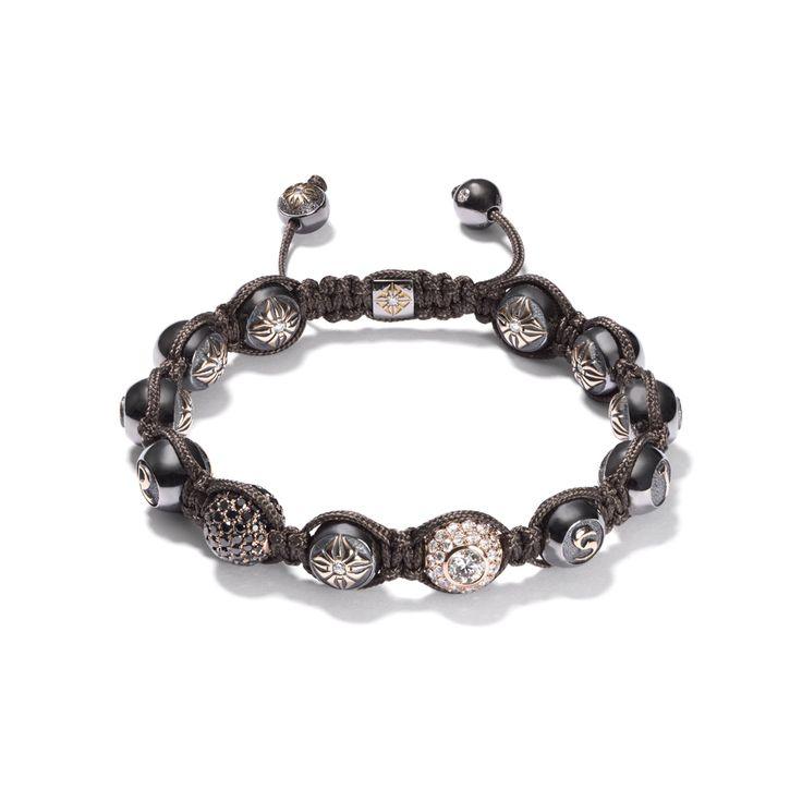 Black diamonds, rose gold Shamballa Bracelet