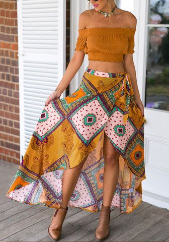 Ethnic Asymmetric Wrap Skirt