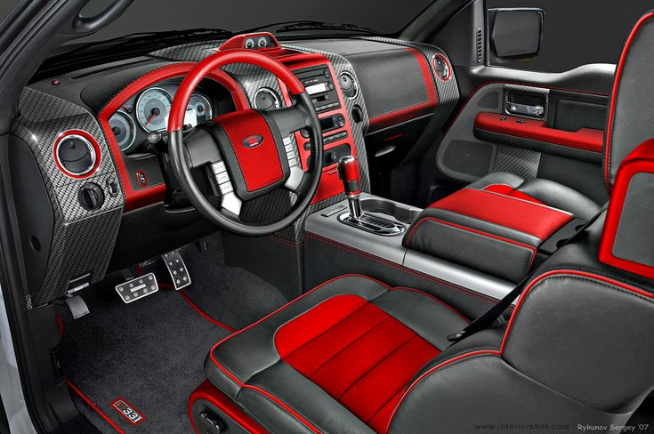 image of red and black truck interior google search auto design pinterest trucks. Black Bedroom Furniture Sets. Home Design Ideas