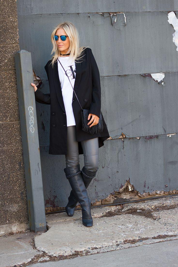 Calvin Klein tee and leather on The Boyish Girl