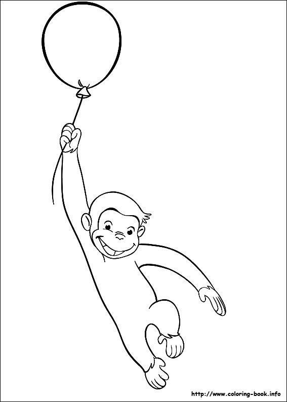Curious George coloring picture. Podriamos poner uno k se pare solito! y le ponemos un(os) globo(s) de verdad :)
