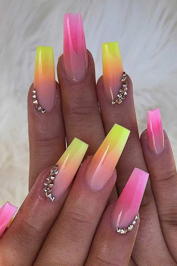 43 Neon Nail Designs That Are Perfect For Summer Page 4 Of 4 Stayglam Neon Nail Designs Nail Designs Summer Acrylic Summer Acrylic Nails