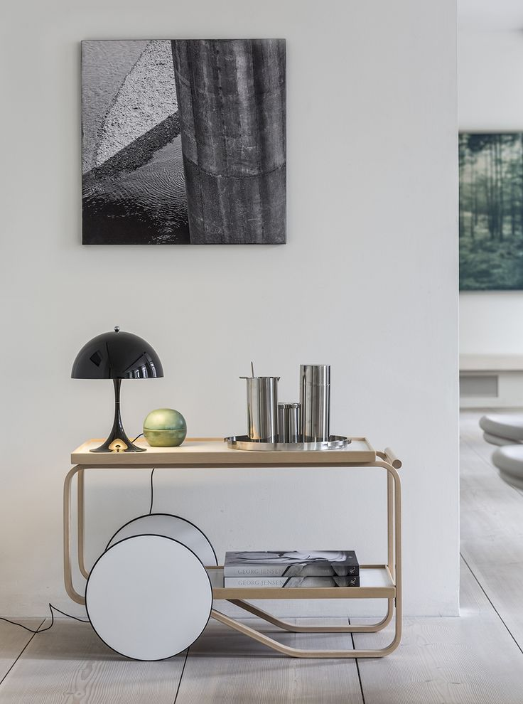 Tea trolley by Alvar Aalto from Artek and Panthella MINI by Verner Panton from Louis Poulsen.