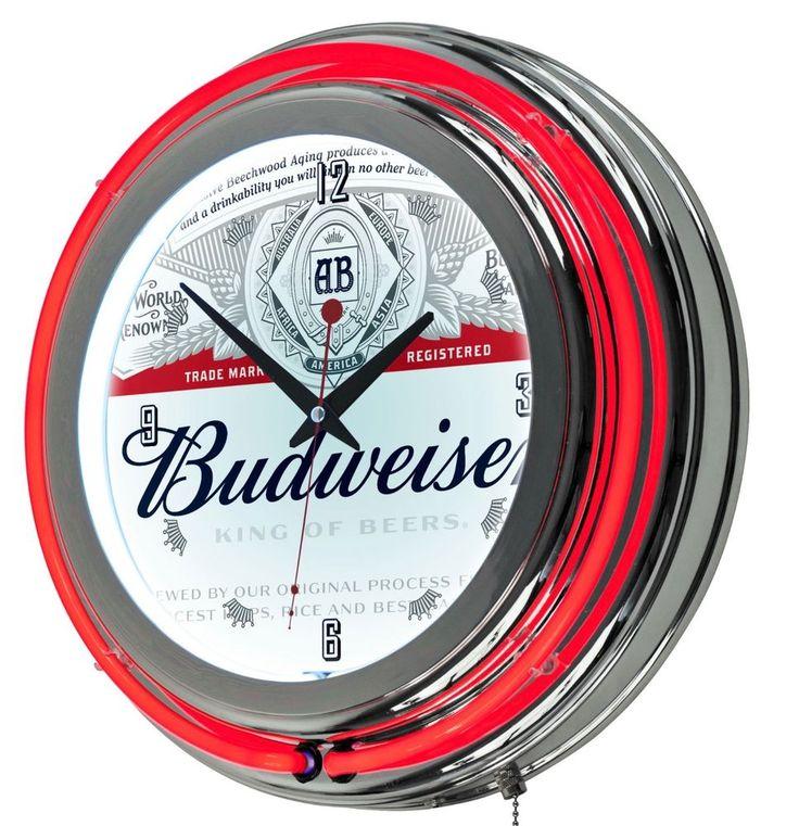 Budweiser Wall Clock Neon Games Room Bar Den Garage Pub GIFT Beer Clocks Logo  #TrademarkGameroom