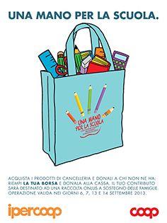 Puoi donare prodotti di cancelleria il 6/7 settembre  2013 negli Ipercoop e il 13 e 14 settembre nei supermercati Coop Nordest per chi nella tua comunità non ha la possibilità di acquistare il materiale necessario per la scuola.