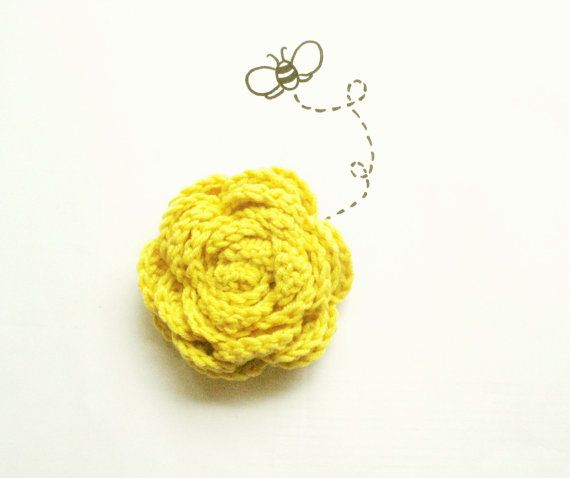 Yellow Brooch Flower pin, Crochet Brooch Pin, Bridesmaids accessory, Gift for her, Honey yellow, Fashion Accessory by VeraJayne