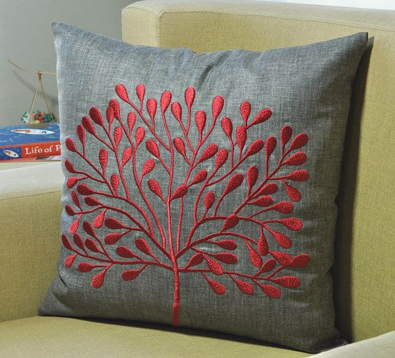 "Gray Red Tree Decorative Pillow Cover, Ash Gray Throw Pillow Cover 18"" x 18"", Holiday Couch Pillow Cover, Red Floral Pillow Accent"