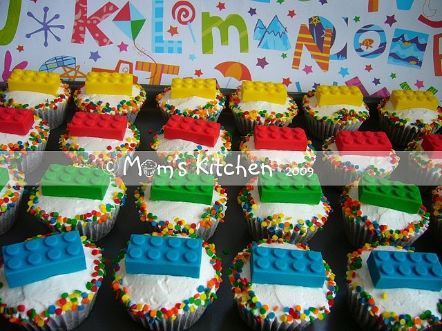 Lego cupcakes:  Lego made with pound cake, little marshmallows, primary paste food coloring.