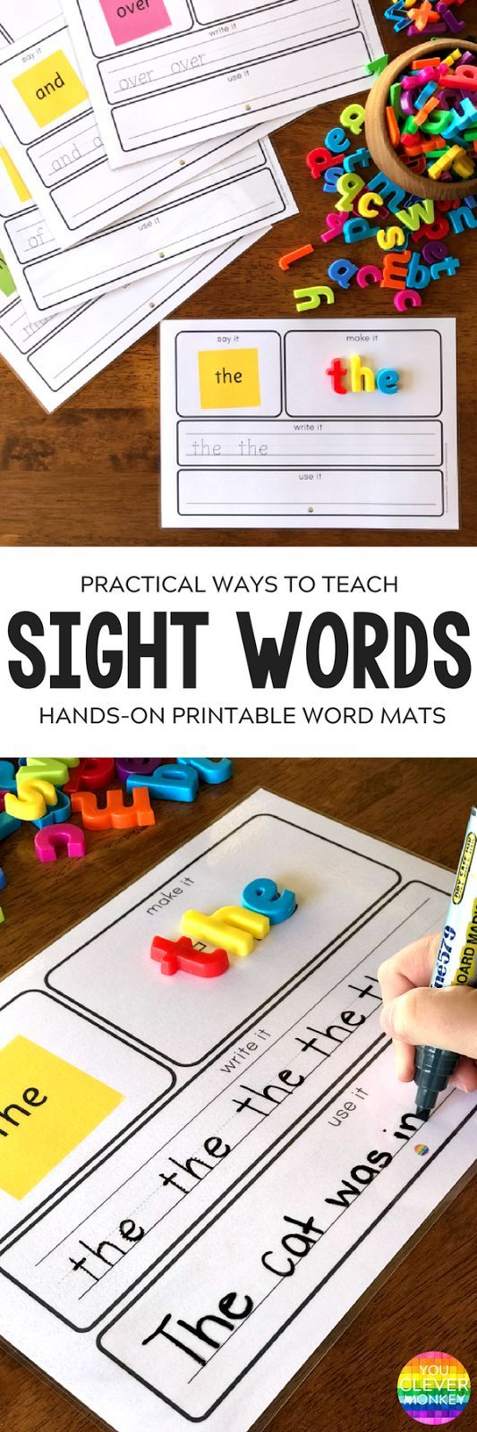 Teaching Sight Words - practical ways to teach high frequency words plus printable sight word mats to use | you clever monkey