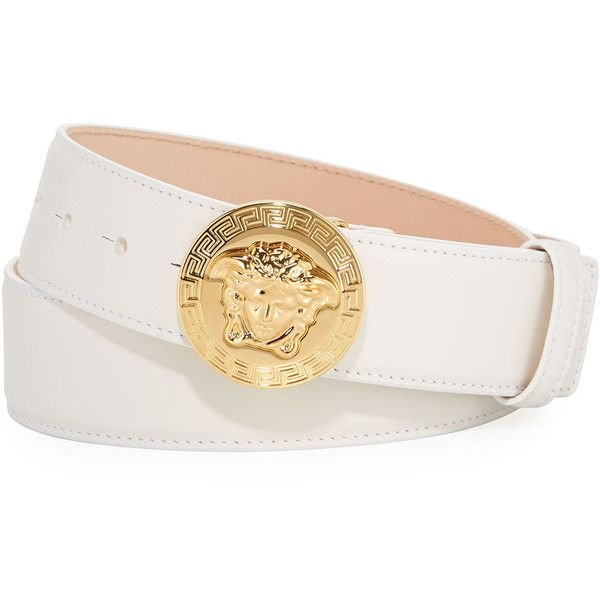 Versace Medusa Greca Leather Belt ($450) ❤ liked on Polyvore featuring men's fashion, men's accessories, men's belts, mens studded leather belt, versace mens belt, mens adjustable belts and mens studded belt