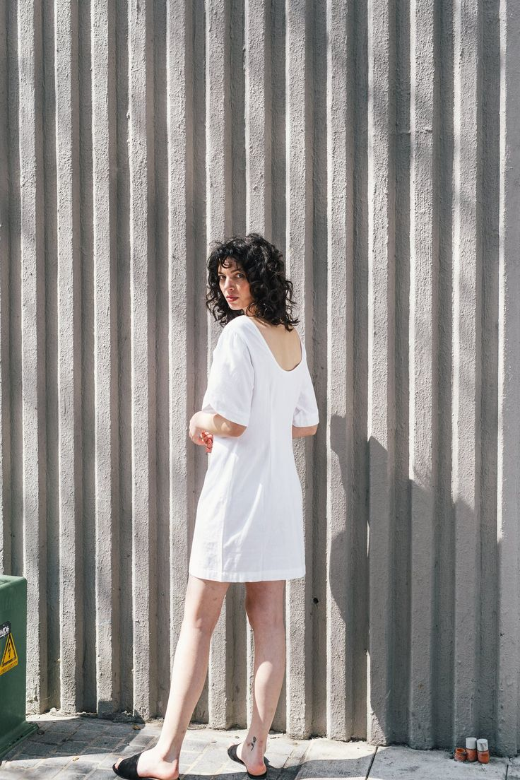 Petal Sleeve Dress - Handwoven white
