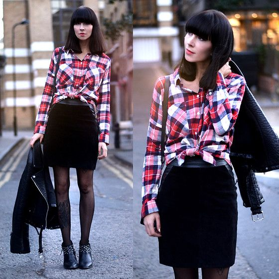 by Ricarda S, 26 year old fashion and style blogger on http://www.wie-hund-und-katze.com from Berlin, Germany.  Monki Check Print Shirt, Monki Suede Leather Skirt, Zara Leather Biker, Zara Booties, Proenza Schouler Bag