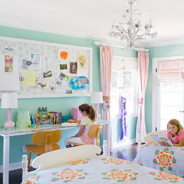 How to Decorate an Absolutely Adorable Girl's Bedroom: Shared Bedroom Tips                                                                                                                                                     More