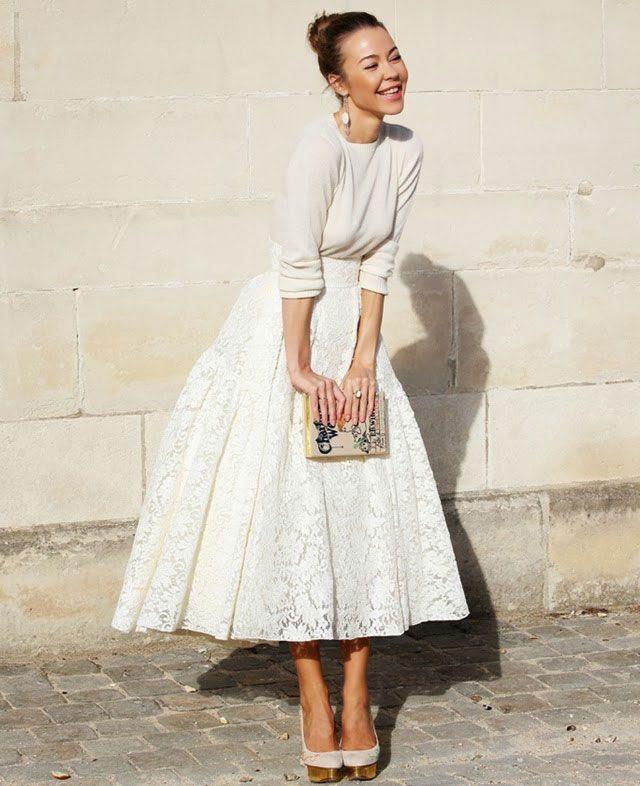 Белые кружевные юбки в пол