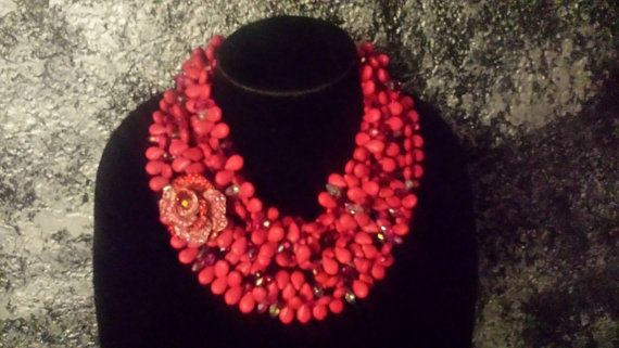 Check out this item in my Etsy shop https://www.etsy.com/listing/265294242/hot-pink-howlite-statement-necklace