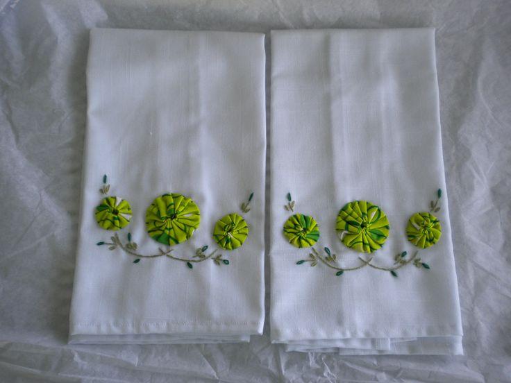~ Hand Embroidery Dish Towel Set w/ Fabric Yo-Yos ~