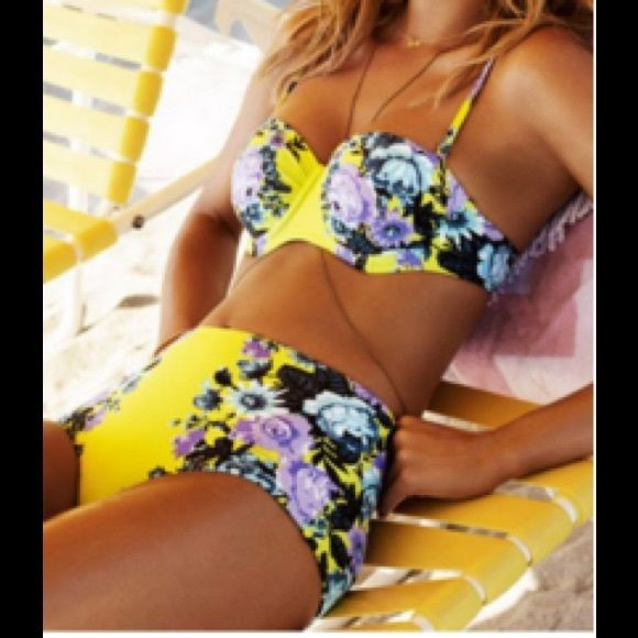 YELLOW HIGH WAISTED BIKINI (M) FLORAL HIGH WAISTED BIKINI PLEASE DO NOT PURCHASE THIS LISTING. JUST COMMENT THAT YOU WOULD LIKE TO PURCHASE AND I WILL MAKE A LISTING FOR YOU.  Underwire, molded bra cups. Removable straps. Adjustable back closure. This is a true large. It does not run small. NO MODELING. NO TRADES. Swim Bikinis
