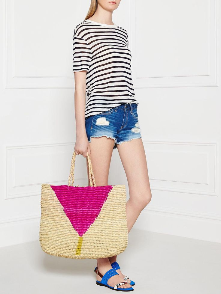 PRYMAL Printed Straw Tote Bag - Cream/Pink | veryexclusive.co.uk