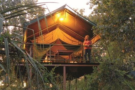 Safari tent overlooking picturesque Annie Creek in Mornington - Marion Downs Sanctuary, a spectacular non-for profit wilderness area on a detour off the Kimberleys' Gibb River Road!