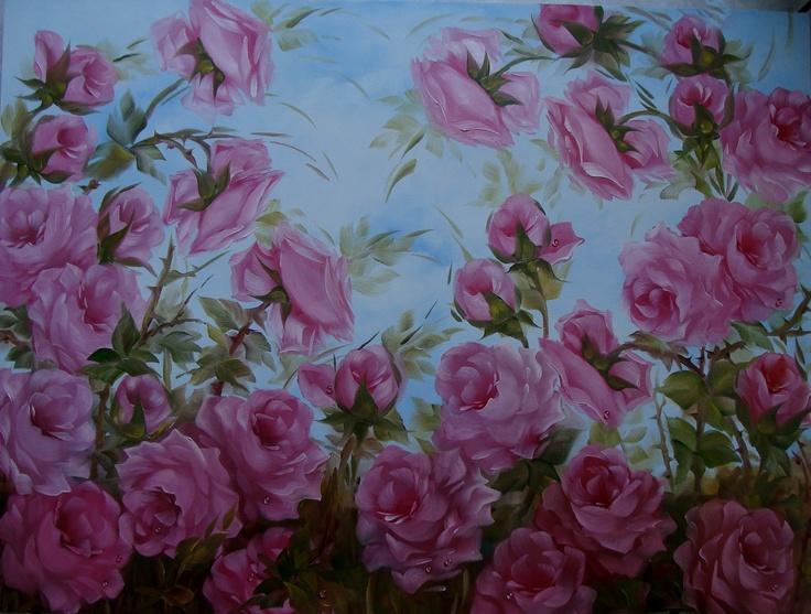 Painel - óleo sobre tela. www.rosasdobrasil.elo7.com.br