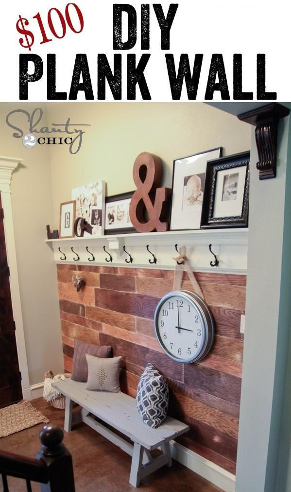 DIY Plank Wall Makeover --- we could use some of our extra flooring for a cool wall like this.. Kinda like we did for our headboard