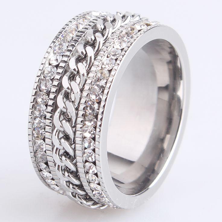 10mm keten dubbele rij crystal 316L Rvs trouwringen voor mannen vrouwen groothandel
